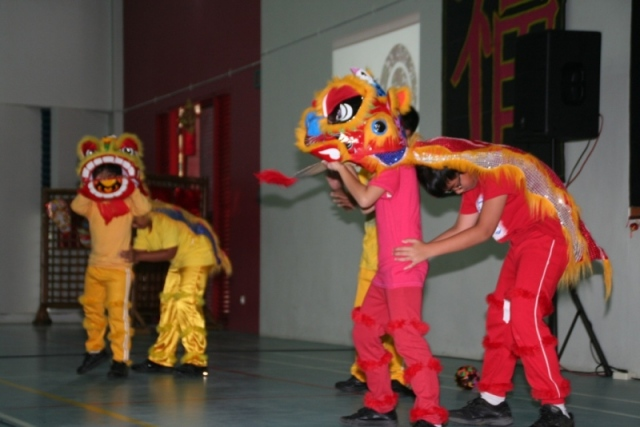 Students perform the  Baraong Sai (Lion Dance)